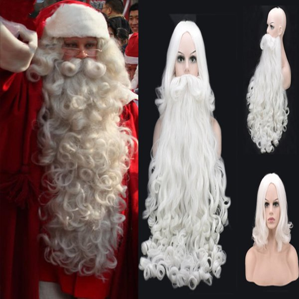 Christmas Cosplay Wig Beard Santa Claus White Curly Long Synthetic Hair Adult Women Men New Fashion Style Role Playing Costumes