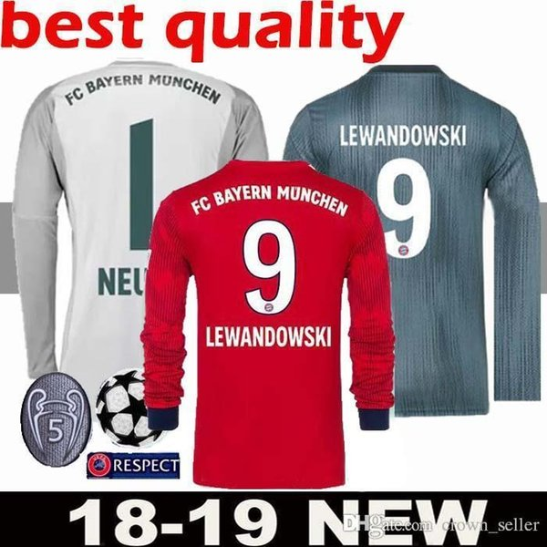 Großhandel 1819 Langarmshirt # 25 MULLER Heimtrikot 1819 Auswärtstrikot # 11 JAMES # 9 LEWANDOWSKI FC Bayern München 3. Fußball Uniform Von