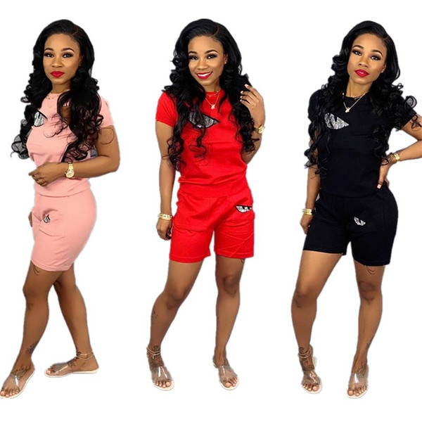 Women Sequins Eye Tracksuit F Letter Short Sleeve T-shirt + Shorts 2 piece Summer Outfit Jogging Street Sports Suit Sportswear Clothes C3299