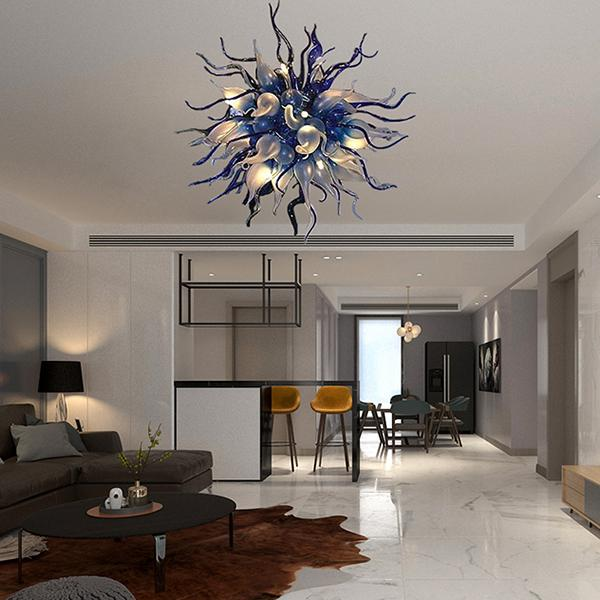 contemporary ball chandelier 36inch hand blown glass light modern led crystal chandelier for bedroom living dining room home interior