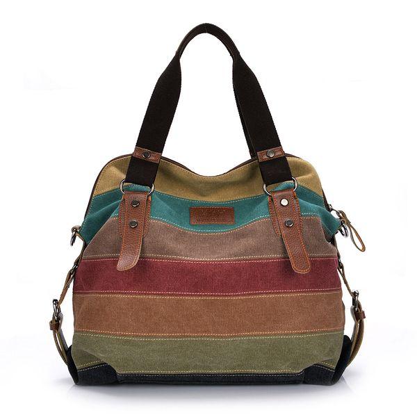 Women Large Capacity Patchwork Handbag Canvas Stripe Zip Tote 2019 Female Fashion Messenger Bags Lady Shoulder Shopping Bag