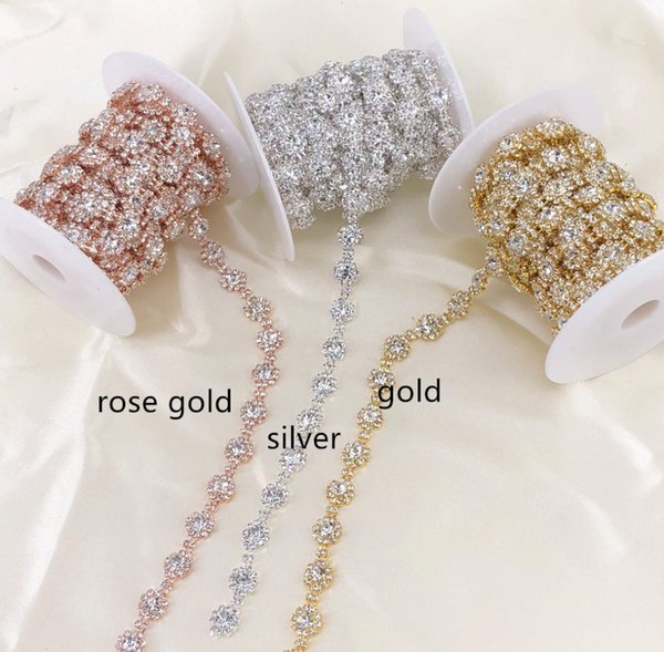 1 Yard Sunflower Rose Gold/Silver/Gold Rhinestone Trim Crystal Cup Chain DIY Fashion accessories Rhinestone Chain