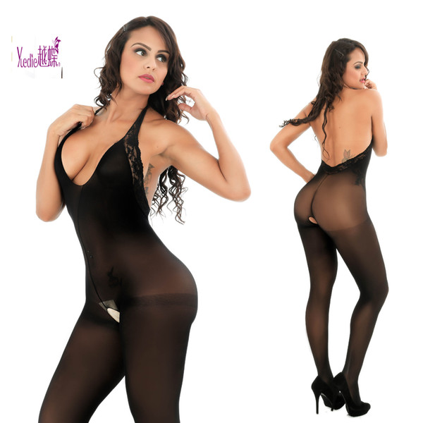 2019 Euro-American fashion blockbuster sexy underwear lace neck-tied open-crotch silk stockings ladies pajamas 8607