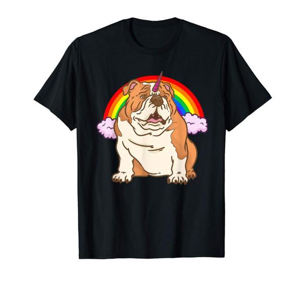 Custom Design Tee Shirts Crew Neck Funny Short Sleeve English Bulldog Kids Rainbow Mens T Shirt