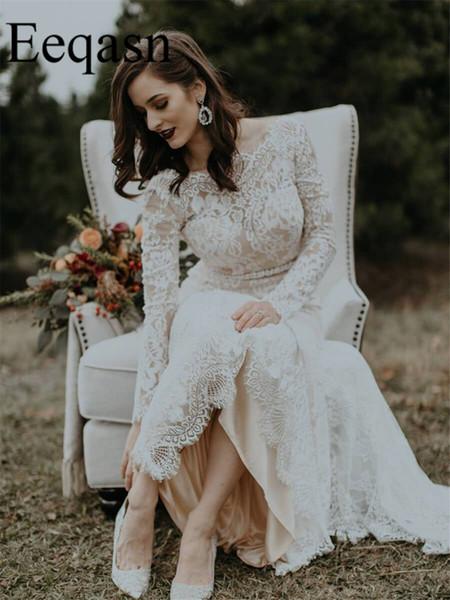 New Wedding Dress 2019 Boho Long Sleeve Sexy Backless Mermaid Bohemian Wedding Gown Bridal Gowns Robe De Mariage