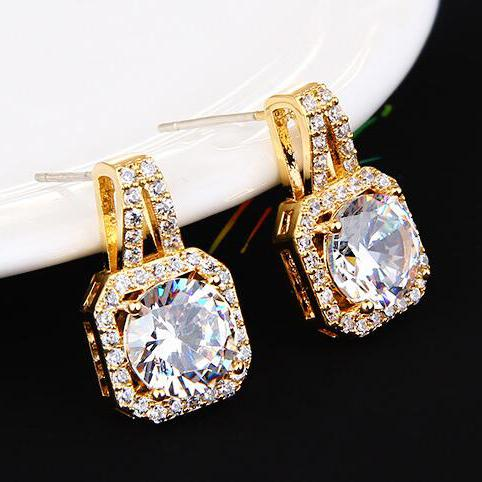 UILZ Gold Color Square Shape Cubic Zircon Hoop Earrings for Women All Match Female Fashion Jewelry Accessories UEL3330