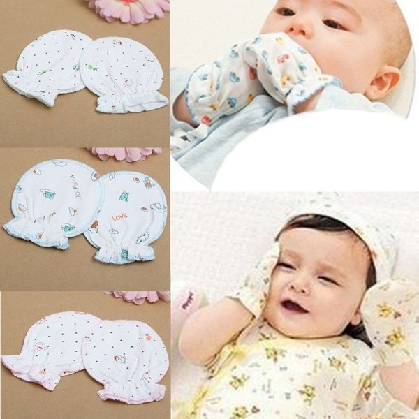 Hot Selling1 Pair Cute Unisex Newborn Mittens Cotton Anti Scratching Gloves For 0-6 Month Boy Full Finger Gloves Girl