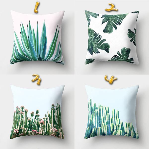 Wholesale 16 Styles 45*45cm Green Plant Cushion Covers Linen Bedroom Seat Decorative Pillow Home Decor Kitchen Accessories Party Decoration
