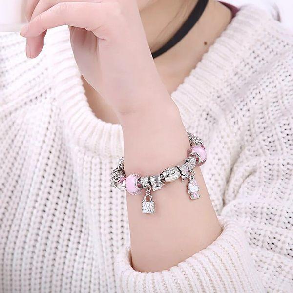 16-21CM bracelet de charme kity pendentif bracelet pour enfants enfant femmes cadeau charme ours perles DIY Bijoux Accessoires avec boîte