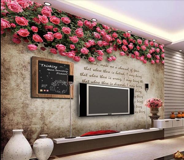 Роза Настенные Росписи Обоев Цветочный Фон Декор Стены Спальня ТВ Фон Обои для Стен Papel Де Parede Флорес 3d