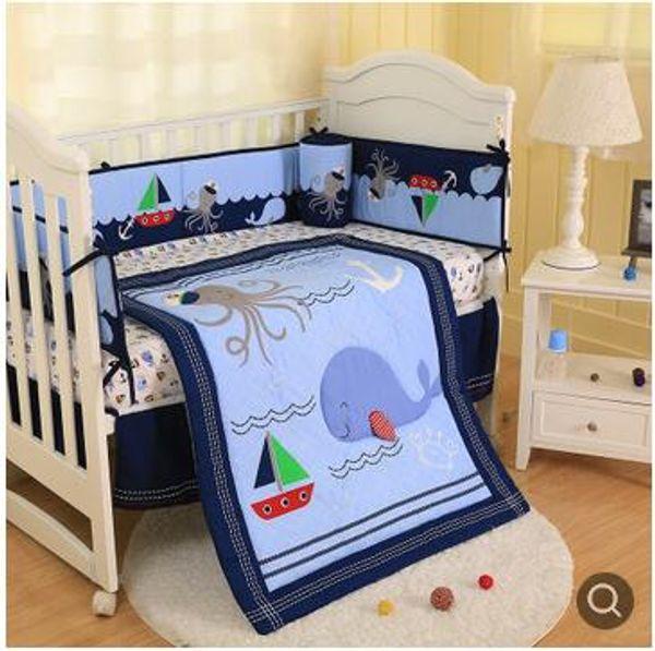 New arrival Baby Bumper sets for infant boy Crib bedding set Happy Ocean Cot bedding set Baby Quilt Skirt Bumper Mattress Cover