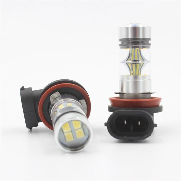 top popular 2Pcs 100W H8 H9 H11 H16(JP) Car LED Light Bulbs White 850LM High Power Headlight Xenon Fog DRL Light Source DC12V-24V 2021