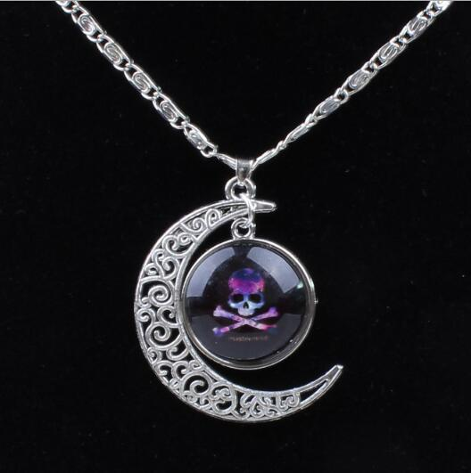 Fashion Star Moon Pendant Necklace for Women Time Gem Charm Necklace 10 Colors Universe Galaxy Pendant Necklace Vintage Jewelry