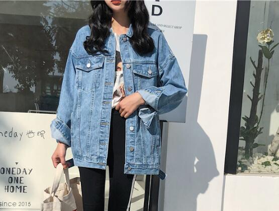 2019 nuova giacca da donna in denim casual allentato giacca casual blu