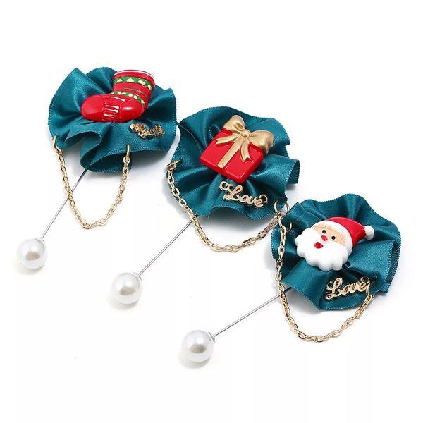 Christmas Suit Pins Creative Cute Santa Socks Snowman Series Gift Ornaments Christmas Brooch