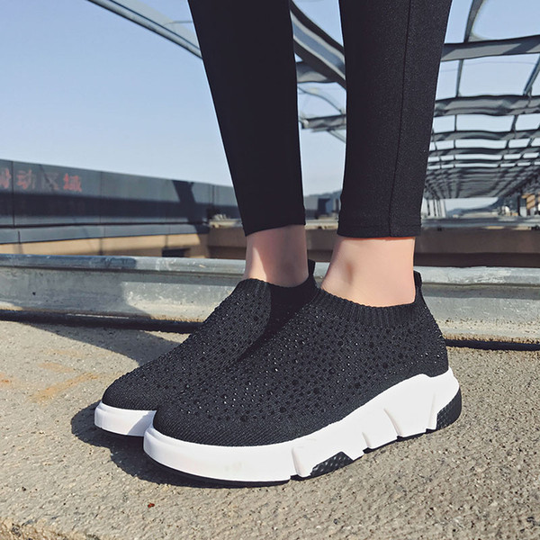 Sooneeya 2018 New Stretch Sock Sneakers for Woman Crystal Running Shoes Women Bling Women Loafers Walking Shoes Chaussures Femme