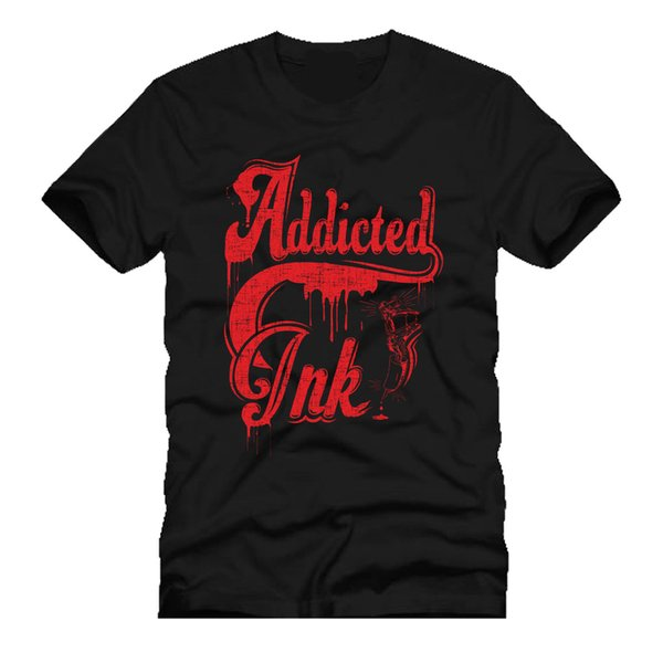 ADDICTED TO INK tattooed gun artist typograph words dtg mens t shirt tees Cute T shirts Man 100% Cotton Cool