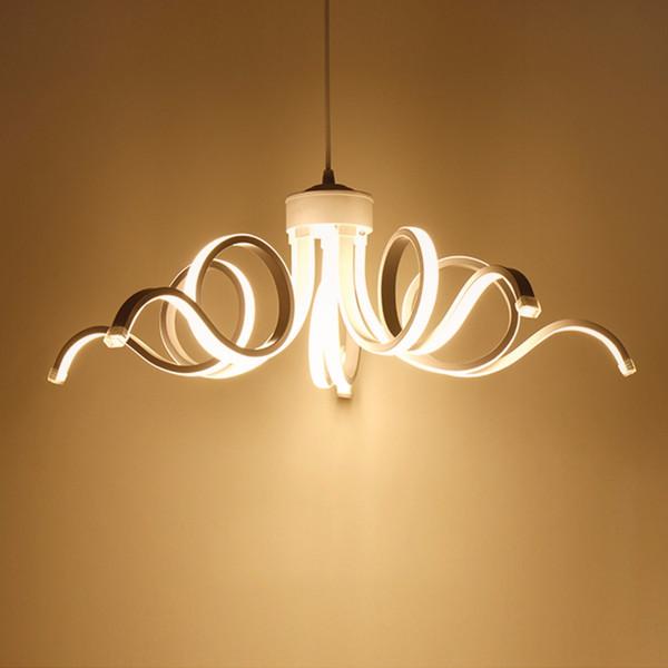 Modern Avize LED Sıva Üstü Ev Cilası Dalga Dekor Işıkları Yemek Odası için Uzaktan Lampara