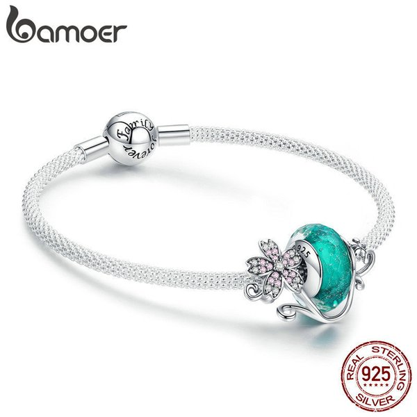 Bamoer Authentic 925 Sterling Silver Daisy Flower Green Glass Beads Strand Charms Bracelets For Women 925 Silver Jewelry Scb822 J 190429