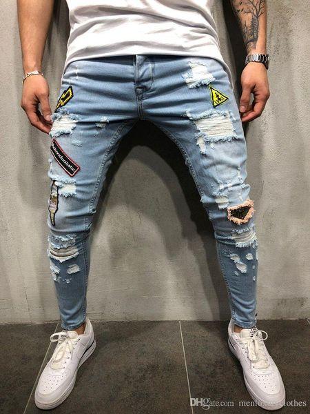 Mens Ripped Slim Fit Jeans Emblem Embroidered Designer Denim Blue Pencil Jean Pants HIPHOP Street Trousers