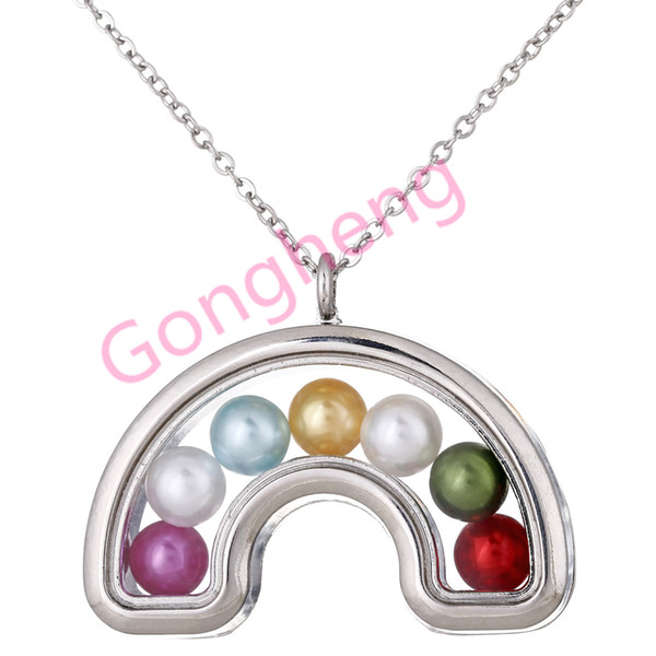 K1448 Silver Can open Rainbow Pearl Beads Cage Magnetic Glass Floating Locket Pendants Women Charms Necklace