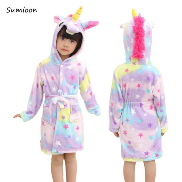 Baby Animal Bathrobe For Boys Girls Unicorn Pattern Hooded Towel Beach Kids Sleepwear Children Clothes Kids Pyjamas Nightgown J190520