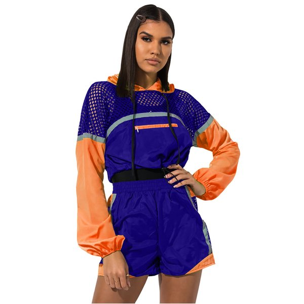 Summer Patchwork Color Mesh Tracksuit Multi Colored Long Sleeve Hooded Crop Tops + Shorts 2pcs/set Outfit Jogger Pullover Sport Suit C486
