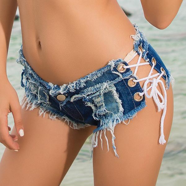 5 Colors Lace Up Sexy Cutout Pole Dance Thong Bar Shorts Women Jeans Denim Micro Ultra Low Rise Waist Clubwear Summer Dk075s40 Y19050905