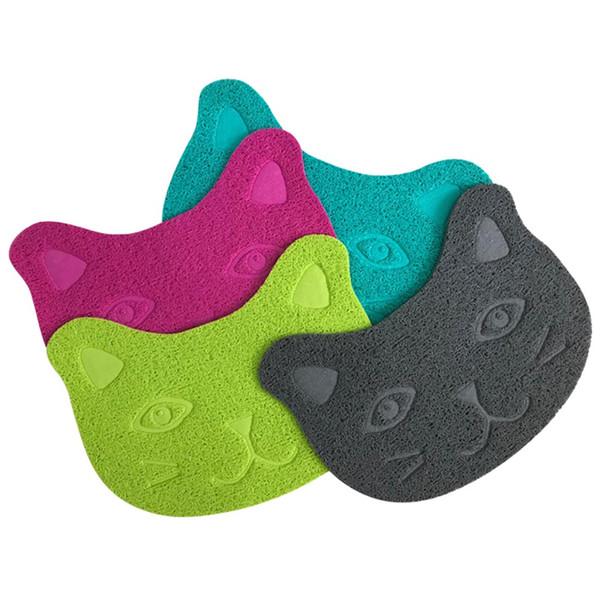 Pet Cat Toilet Mat PVC Waterproof Kitten Cute Cat Face Pattern Litter Trapper Easy Cleaning Mat for Home Pet Supplies