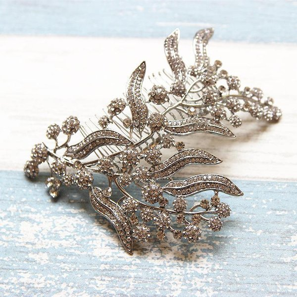 beijia Shine Rhinestone Flower Bridal Headpiece Hair Comb Silver Wedding Jewelry Hair Accessories Women Tiara Hairwear