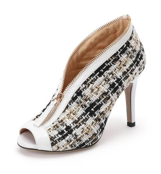 2019 весна осень скольжения на носок туфли ситцевые модные туфли на шпильках сапоги большой размер маленький размер 33 женская обувь офис леди новый