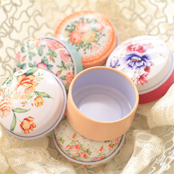 Retro Flowers Tea Caddy Receive Box Europe type style Box Wedding Favor Tin Box Candy Organizer Container Random Color 5pcs