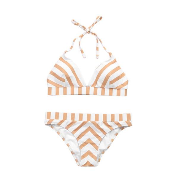 Women Sexy Two Piece Bikini Set Halter Deep V-Neck Triangle Bra Low Waist Thong Boho Geometric Wide Stripes Printed Swimsuit Con
