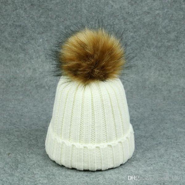 Baby Toddler Knitted Hat Fashion Winter Infant Pompom Cap Boy Girls Fur Ball Crochet Beanie Cap Kids Children Cute Hairball Hats