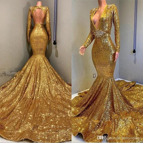 Sexy Mermaid Deep V Neckline Long Sleeve Open Back Prom Dresses 2019 Sparkly Sequin Formal Evening Gowns Glitter Gold Cocktail Party Dress