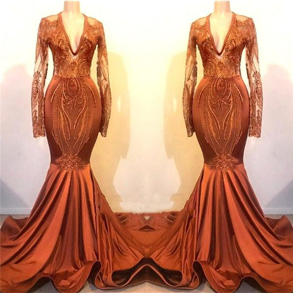 Elegant Orange Red Mermaid Prom Dresses Sheer Long Sleeves Appliques Lace Special Occasion Dresses Evening Wear Fishtail Backless Prom Gowns