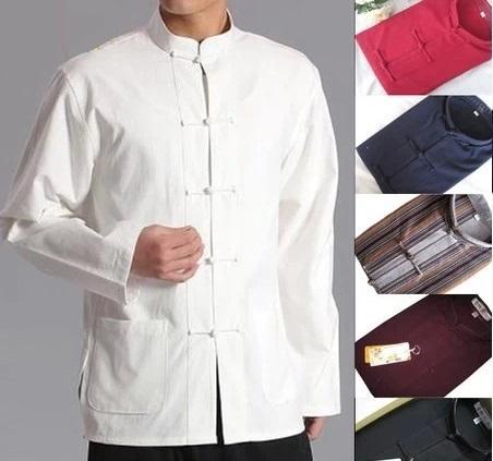 traditional chinese suit men Chinese Traditional Tang suit Jacket Wu Shu Tai Chi Clothing shaolin kung fu wing chun shirt Long Sleeves