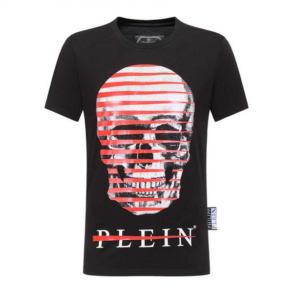 Nueva camiseta de Europa y América de alta calidad de los hombres camiseta de la moda hip hop impresión skul algodón camiseta de los hombres de fitness O-cuello POLO camisa P25