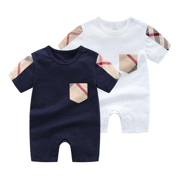 Vendita calda morbido cotone 0-24 m bambini vestiti manica corta marca modello bambino pagliaccetto moda estate bambini vestiti con tasca