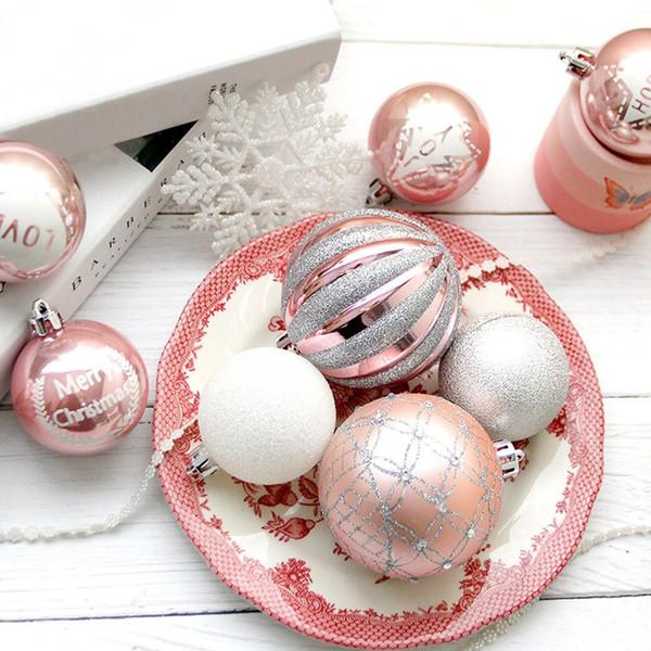 4шт Рождественские шары Блестящие декоративные висячие украшения Рождественские блесна Xmas Tree Подвески Декорации для вечеринок Kerstballen