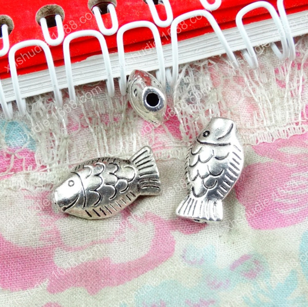 50pcs 10*17MM Antique tibetan silver fish animal beads ornament charms for bracelet vintage metal loose beads DIY jewelry making5