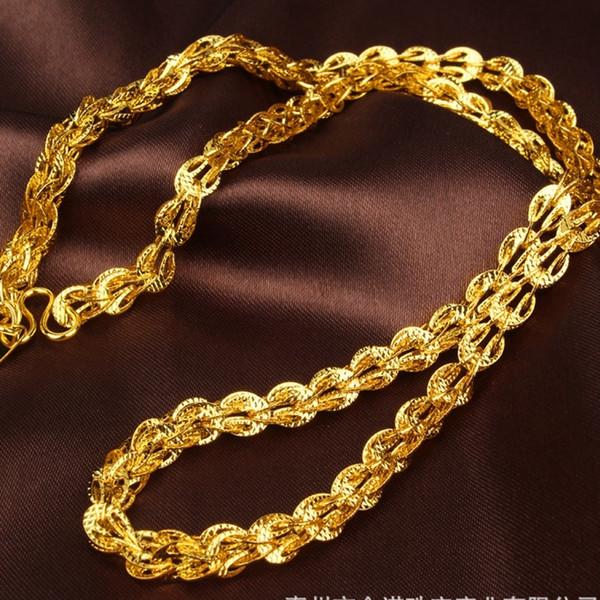 Collana clavicola in oro giallo con bottoni a maglia da uomo 48 cm J190711