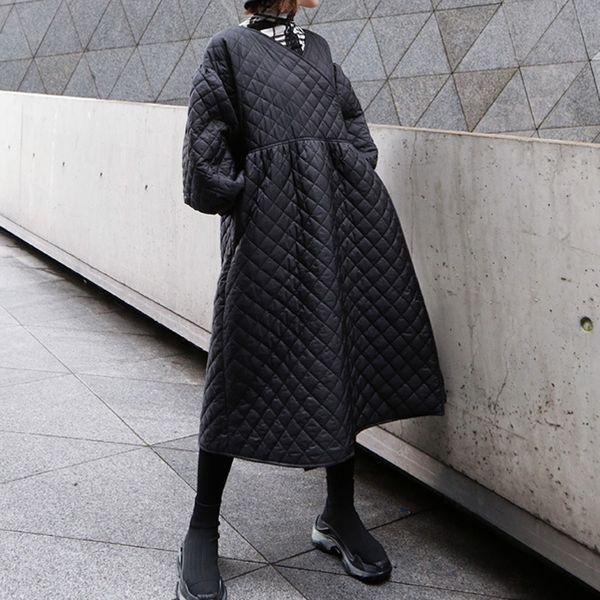 Parka-Mantel-langer Winter Herbst Jacke Frauen Plus Size Weiblicher Aufmaß 2019 Lady Punk Top Oberbekleidung Puffer gesteppte Laterne Sleeves