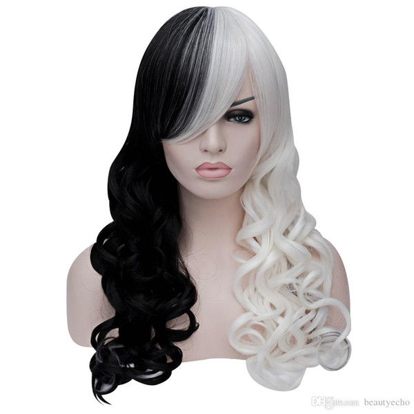 Women Sexy Long Curly Black White Full Wigs Synthetic Cosplay Hair False Wig Natural Wave Sexy Long Curly Hair Lace Natural Wave Full Wig BB