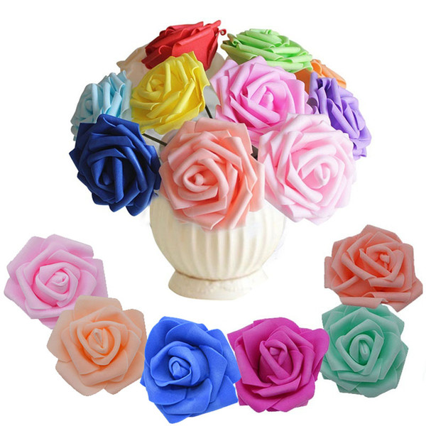 2019 20Pcs/Lot 6cm Flower Head Artificial Flowers Wedding Decorations PE Foam Roses DIY Flores Scrapbooking Wreath Garland Home Decor