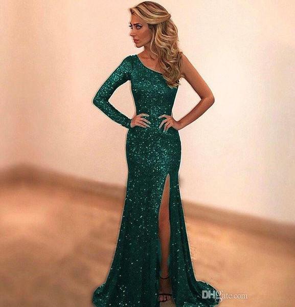 Sparkly Payetli Yeşil Mermaid Gelinlik Modelleri 2019 Custom Made Bir Omuz Uzun Akşam Parti Elbise Seksi yan Yarık robe de soiree