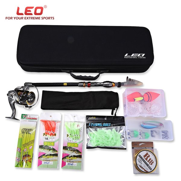 LEO3.6/3/2.7/2.4 /2.1m 10pcs /set Outdoor Fishing Spinning Rod Reel Kit Set with Fish Line Lures Hooks Floats Bag Case Rod Combo
