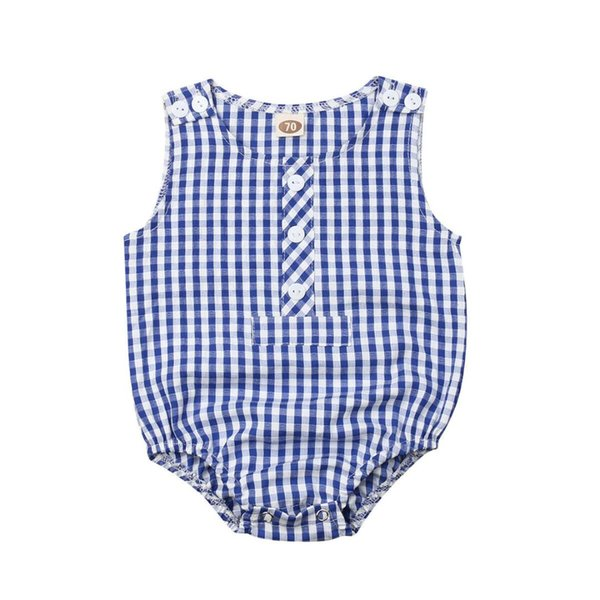 3-18M Infant Newborn Baby Girl Sleeveless Plaid Romper Jumpsuit One Pieces Summer Sunsuit
