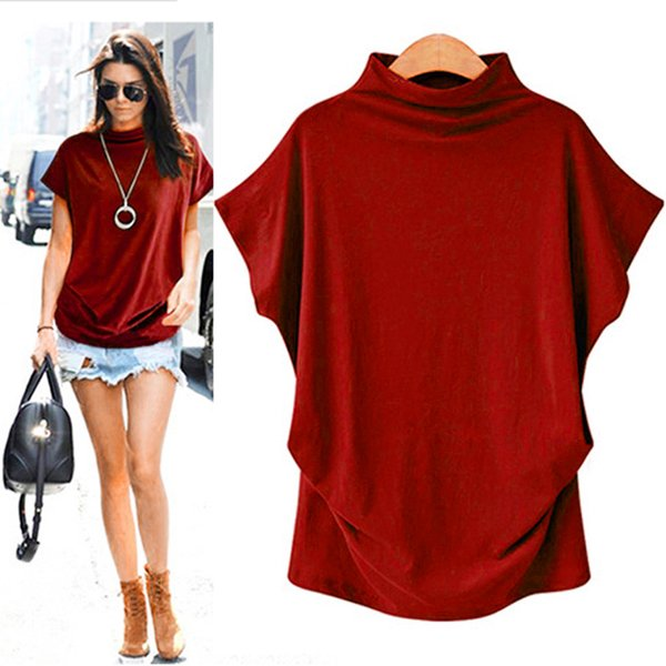Short Sleeve Tops Clothes for Women Guns High Collar 5 Color Large Size T Shirt Fashion Female T-shirt Camisas