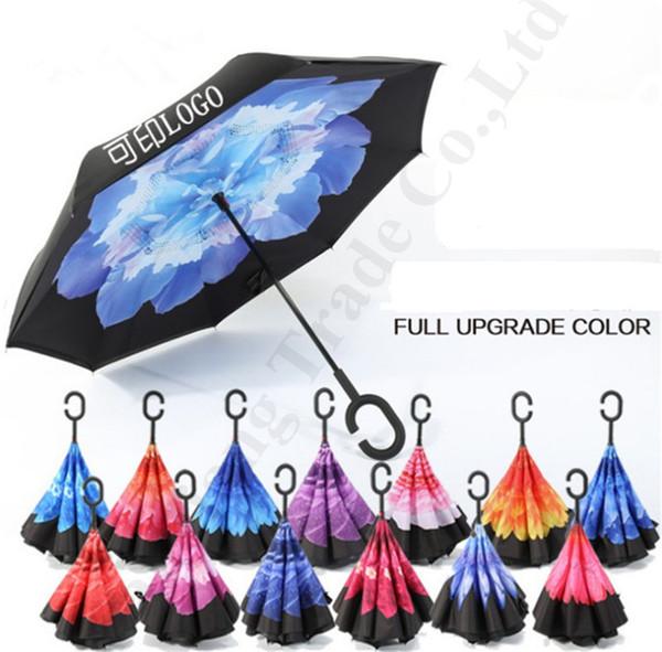 Ters Şemsiye ile C Kol Çift Katmanlı İç Out Şemsiyeler Ters Windproof Çiçekler Güneşlik Plaj Şemsiye A112201 yazdır Flora
